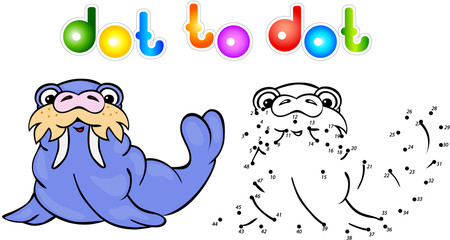 Funny cartoon walrus dot to dot
