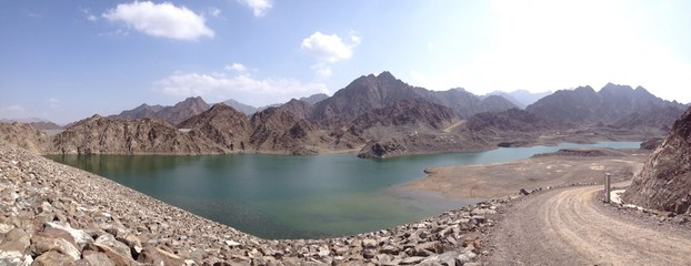 lake in the mountains of united arab emirates