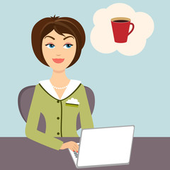 Secretary with mug of hot coffee
