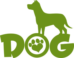 Dog Green Silhouette Over Text With Love Paw Print