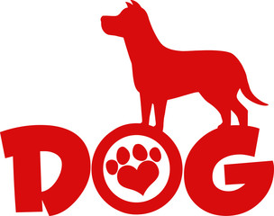 Dog Red Silhouette Over Text With Love Paw Print