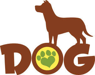 Dog Brown Silhouette Over Text With Green Love Paw Print