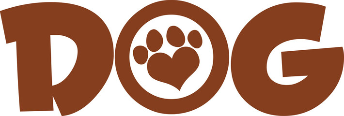 Dog Brown Text With Love Paw Print