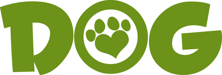 Dog Green Text With Love Paw Print