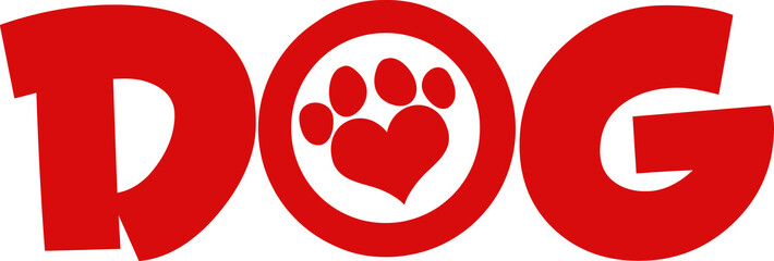 Dog Red Text With Love Paw Print