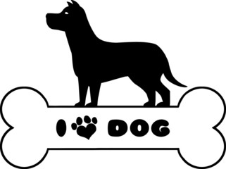Dog Black Silhouette Over Bone With Text And Love Paw Print