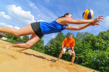 Einsatz beim Beachvolleyball
