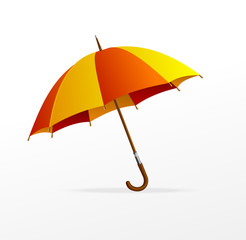 Vector red and yellow umbrella isolated