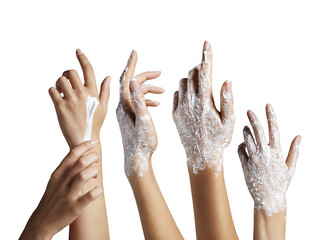 hand set with a cream