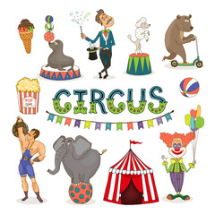 Vector circus  funfair and fairground icon set