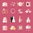 Set of wedding icons in flat style - 71481873