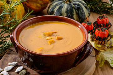 Pumpkin soup, close-up