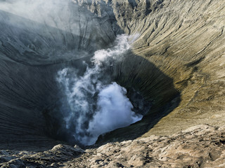 Crater of an active volcano Bromo. Indonesia's Java island