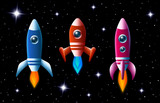 Three brightly colored rockets in outer space poster