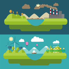 Set flat  illustrations icons green energy and pollution.