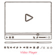 Hand draw sketch doodle video player - 71482811