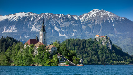 Lake Bled with island, church and castle