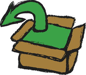 doodle upload cardboard box and arrow