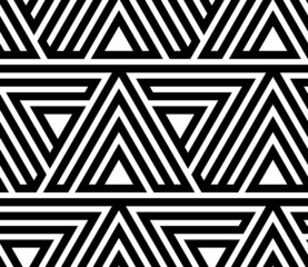 Black and White Geometric Vector Seamless Pattern