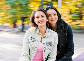 two sexy, beautiful young happy women