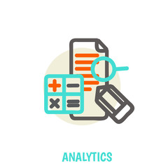 Flat line icons of analytics vector illustration concept.
