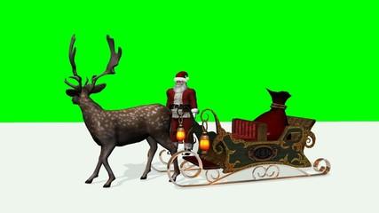 Christmas animation - Santa, Reindeer, Sleigh - green screen