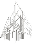 abstract linear sketch of multi-storey building