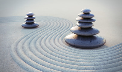 Zen-Steine im Sand