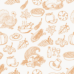 Thanksgiving seamless pattern sketch doodle on white background