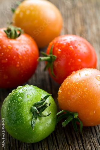 canvas print picture tomatoes on old wooden table