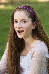 Teen with Braces Laughing