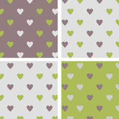 set of seamless patterns hearts