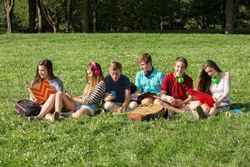 Six Teenagers Studying
