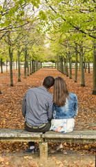 Young Couple Sitting on a Bench in a Park in Autumn