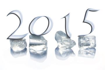 2015 ice cubes isolated on white background
