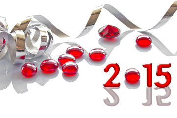 2015, ribbon and glass christmas decorations