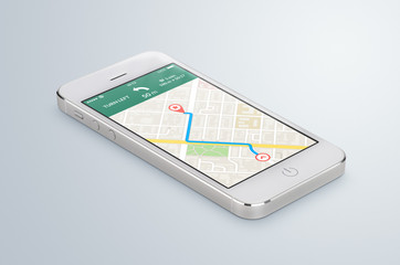 White mobile smartphone with map gps navigation app lies on the