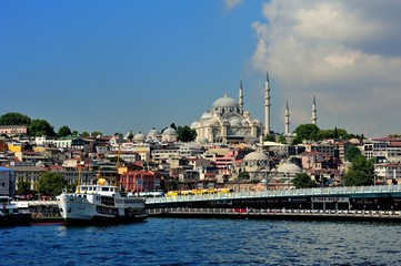 Galata Bridge and Suleymaniye Mosque