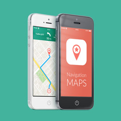Black and white smartphones with map gps navigation app on the s