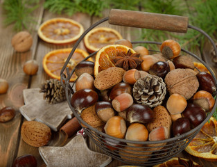 Various nuts in a basket
