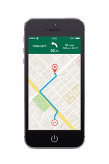 Front view of black smart phone with map gps navigation app on t