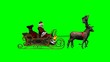 Santa Claus with sleigh and running reindeers - green screen