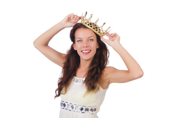 Woman with gold crown isolated on white
