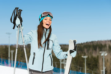 Half-length portrait of female downhill skier
