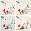 Cute birds in love illustrations