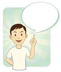 Gesturing cartoon man with big speech bubble