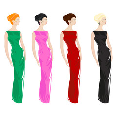 Women in evening dresses - Illustration