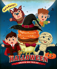 Vintage Halloween poster design with cupcake and kids in costume