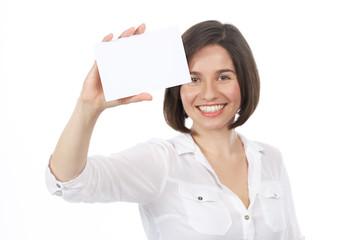 Beautiful woman showing a blank signboard