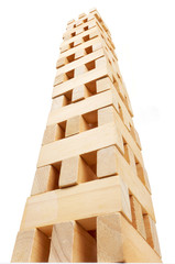 Wooden tower made of blocks